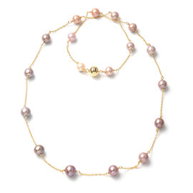 One Time Deal- Multi Color Edison Pearl  Station Necklace (Size - 30)  Sterling Silver