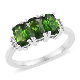 1.55 Ct Russian Diopside and Diamond 3 Stone Ring in Platinum Plated Sterling Silver