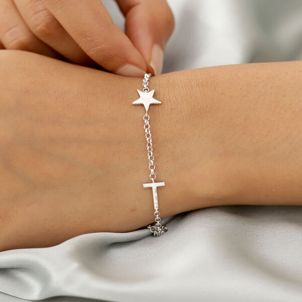 Personalised Two Alphabet + Star, Name Bracelet in Silver, Size - 7.5 Inch