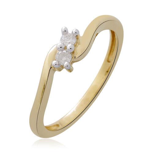 9K Yellow Gold 0.10 Carat Diamond (Rnd) Ring SGL Certified (I3/G-H)