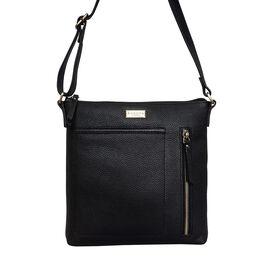 Assots London EDITH 100% Genuine Leather Pebble Grain Crossbody Bag - Black