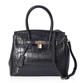 100% Genuine Leather Croc Pattern Tote Bag with Detachable Shoulder Strap and Padlock (Size 30x22x14