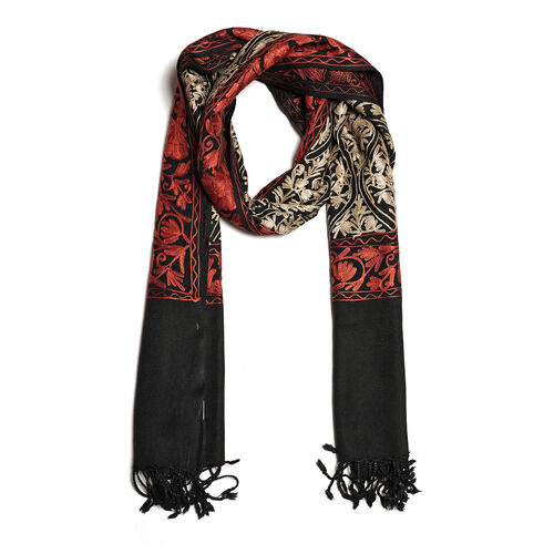 100% Merino Wool Oragne, Black and Multi Colour Embroidered Scarf (Size 190x70 Cm)