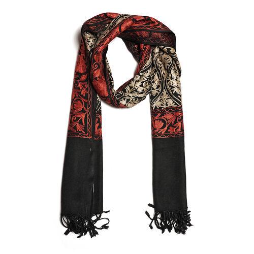 100% Merino Wool Oragne, Black and Multi Colour Embroidered Scarf (Size 190x70 Cm)