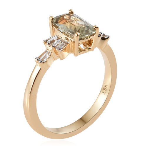 ILIANA 18K Yellow Gold AAA Turkizite (Cush), Diamond (SI/G-H) Ring 1.250 Ct