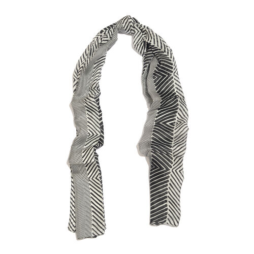 100% Mulberry Silk Black and White Colour Handscreen Printed Scarf (Size 180X100 Cm)