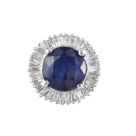 One Time Deal- Masoala Sapphire and Diamond Pendant in Platinum Overlay Sterling Silver 1.30 Ct.
