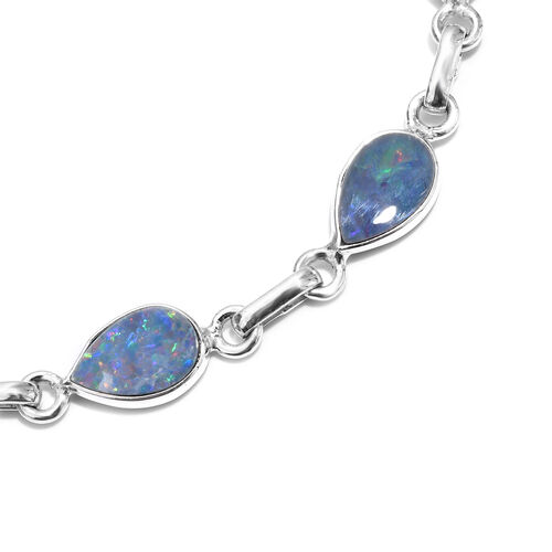 Hand Made Australian Boulder Opal (Pear) Bracelet (Size 7.5 with Extender) in Sterling Silver