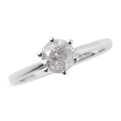 1 Carat Diamond Solitaire Ring in 9K White Gold 2.20 Grams SGL Certified I3 GH