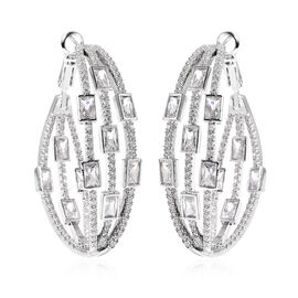 Simulated Diamond Earrings (with Clasp) in Silver Tone