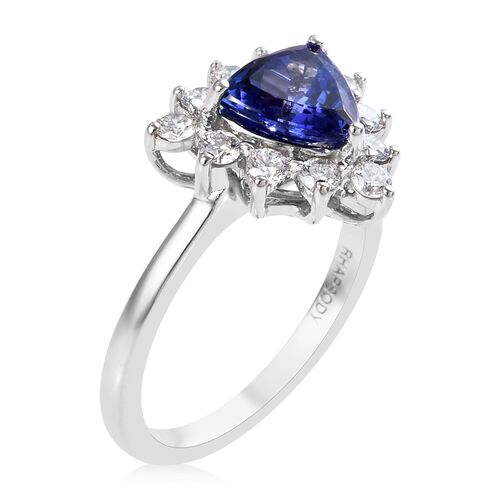 RHAPSODY 950 Platinum AAAA Tanzanite (Trl), Diamond (VS/E-F) Ring 1.750 Ct. Platinum Wt. 5.35 Gms