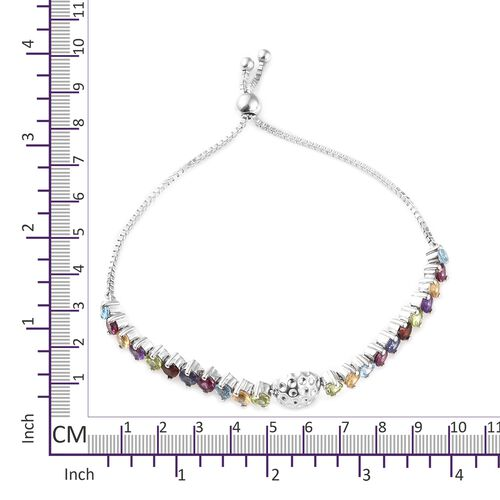 GP Rhodolite Garnet (Rnd), Hebei Peridot, Citrine, Amethyst and Multi Gemstone Adjustable Bracelet (Size 7.5) in Platinum Overlay Sterling Silver 6.250 Ct. Silver wt 9.10 Gms.