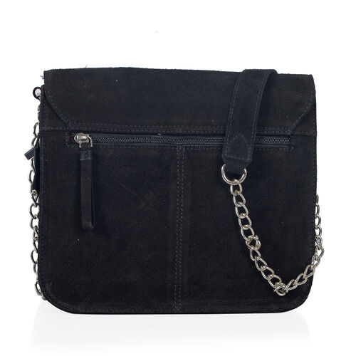 Italian Designer Inspired-100% Genuine Leather Black Colour  Sling Bag (Size 25x25 Cm)