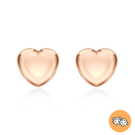 Children Heart Stud Earrings in Rose Gold Plated Silver