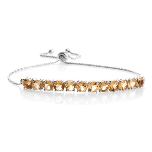 Citrine 5 Carat Silver Adjustable Bracelet in Platinum Overlay (Size 6.5 to 8.5)