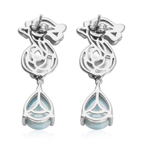 Larimar, Russian Diopside Seahorse Drop Earrings in Platinum Overlay Sterling Silver 10.88 Ct, Silver wt 8.40 Gms