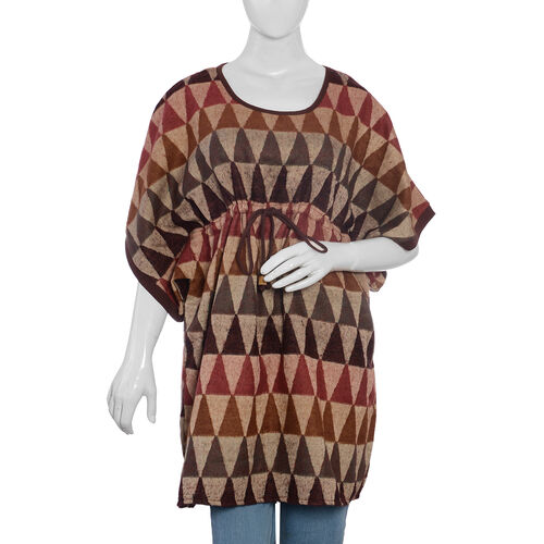 Designer Inspired Beige Brown and Multi Colour Geometric Pattern Dress Size 85x60 Cm