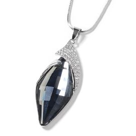 Simulated Grey Spinel and White Austrian Crystal Pendant With Chain in Silver Tone