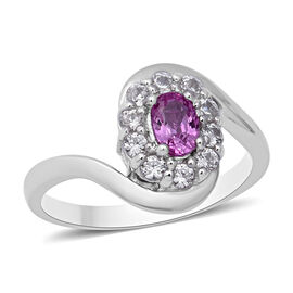 Pink Sapphire (Ovl), Natural White Cambodian Zircon Swirl Ring in Rhodium Overlay Sterling Silver 1.