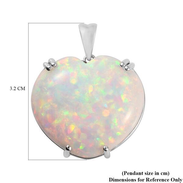 RHAPSODY 950 Platinum AAAA Ethiopian Welo Opal Heart Pendant 27.75 Ct, Platinum wt. 6.02 Gms