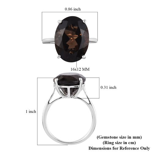 Smoky Quartz Solitaire Ring in Sterling Silver 8.25 Ct.