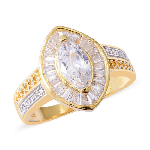 ELANZA Simulated Diamond (Mrq) Ring in Rhodium and Yellow Gold Overlay Sterling Silver