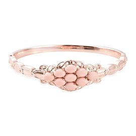 Super Auction-Pink Howlite (Ovl 7x5 mm) Bangle (Size 7.5) in Rose Gold Plated Stainless Steel  6.000 Ct.