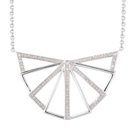 LucyQ Art Deco Collection - Natural White Cambodian Zircon (Rnd) Necklace (Size 30) in Rhodium Overl