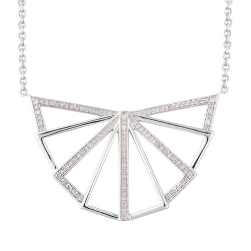 LucyQ Art Deco Collection Zircon Necklace 30 in Rhodium Plated Silver 13.55 Grams