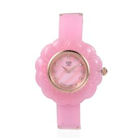 EON 1962 Carved Pink Jade MOP Swiss Movement Water Resistant Watch.Total Ct Wt 116 Cts