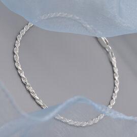 Italian Made - Sterling Silver Diamond Cut Rope Bracelet (Size 7.5)