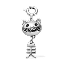 Platinum Overlay Sterling Silver Enamelled Cat Charm
