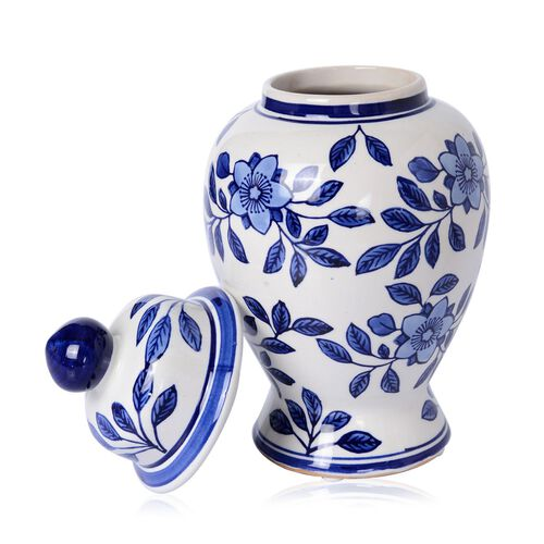 Classic Chinese Blue Colour Flower and Leaves Printed White Colour Pot (Size 26 Cm)
