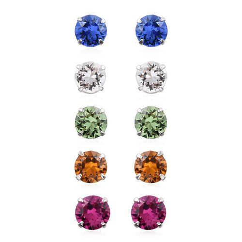 Set of 5 - Crystal from Swarovski - Fuchsia, Peridot, Topaz, Sapphire and White Colour Crystal Stud Earrings (with Push Back) in Platinum Overlay Sterling Silver