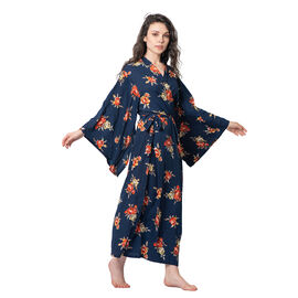 Navy Blue Colour Floral Pattern Robe with Belt (Size 139x122 Cm)