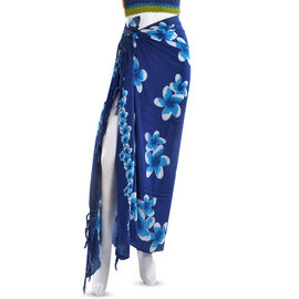 Navy Blue Colour Floral Pattern Hand Painted Sarong