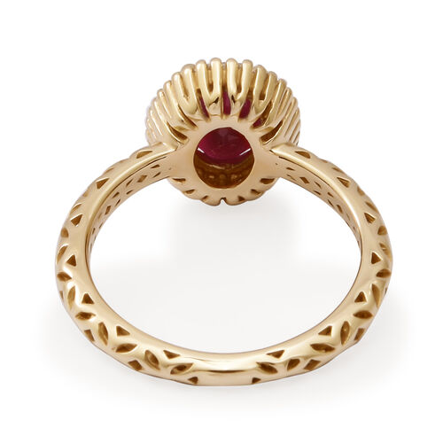 9K Yellow Gold Burmese Ruby and White Diamond Ring 1.82 Ct.