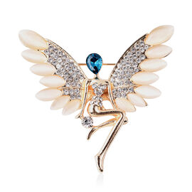 Simulated White Cats Eye and Simulated London Blue Topaz and White Austrian Crystal Angel Brooch