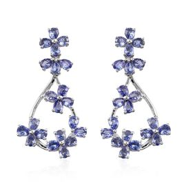 6 Carat Tanzanite Floral Earrings in Platinum Plated Silver 6.97 Grams
