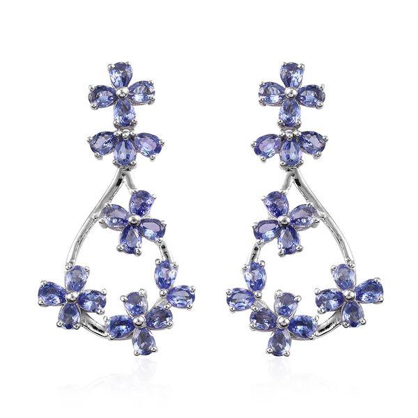 6 Carat Tanzanite Floral Earrings in Platinum Plated Silver 6.97 Grams