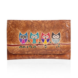 100% Genuine Leather Tan Colour Hand Painted Owl Pattern Wallet with  RFID Blocking (Size 20.25x13 C