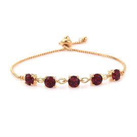J Francis Crystal From Swarovski - Ruby Colour Crystal (Rnd 6 mm) Bolo Bracelet (Size 6.5 - 9.5 Adjustable) in Gold Plated