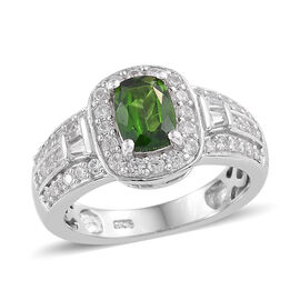 Russian Diopside (Cush 7x5mm, 1.00 Ct), Natural Cambodian Zircon Ring in Platinum Overlay Sterling Silver 1.750 Ct.