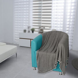Close Out Deal- Cashmere Wool Throw Blanket  (Size 260x140 Cm) -  Grey