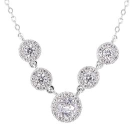 ELANZA Simulated Diamond (Rnd) Necklace (Size 18) in Rhodium Overlay Sterling Silver