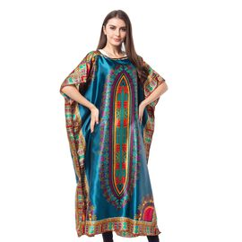 Dark Green and Multi Colour Poncho with Africa Addio Pattern (Size 89x127 Cm)