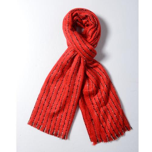 Designer Inspired- Red Colour Stripe Pattern Blanket Shawl (Size 180x65 Cm)