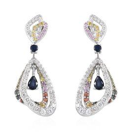 Kanchanaburi Blue Sapphire (Pear), Rainbow Sapphire and Natural Cambodian Zircon Earrings (with Push