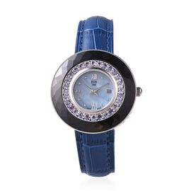 EON 1962 Swiss Movement Tanzanite (Rnd), Black Ceramic Water Resistant Watch in Rhodium Plating with