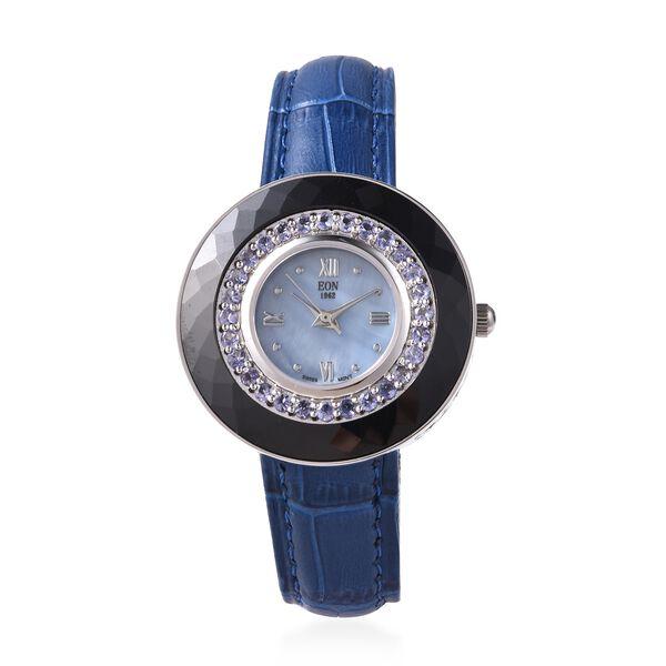 EON 1962 Swiss Movement Tanzanite (Rnd), Black Ceramic Water Resistant Watch in Rhodium Plating with